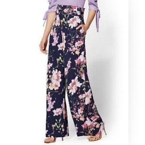7th Ave Suiting - Paperbag-Waist Palazzo - Floral